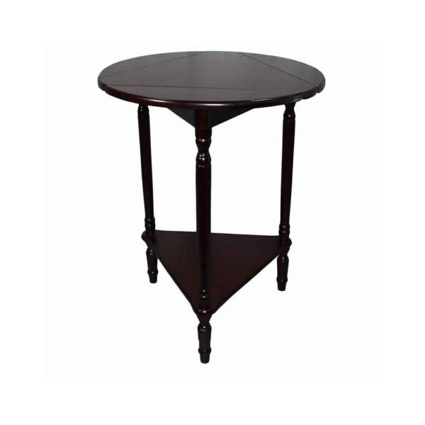 25 in. H Cherry Brown Adjustable Round Wooden End Table with Turned Legs