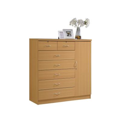 7-Drawer Beech Chest of Drawers with Door