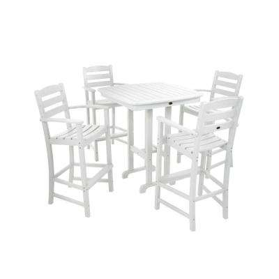 La Casa Cafe White 5 Piece Plastic Outdoor Patio Bar Set Part 98