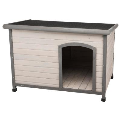 Natura Flat Roof Club Dog House in Gray - Large