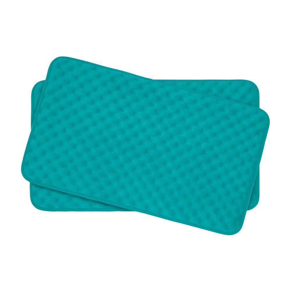 Massage Turquoise 17 in. x 24 in. Memory Foam 2-Piece Bath Mat Set