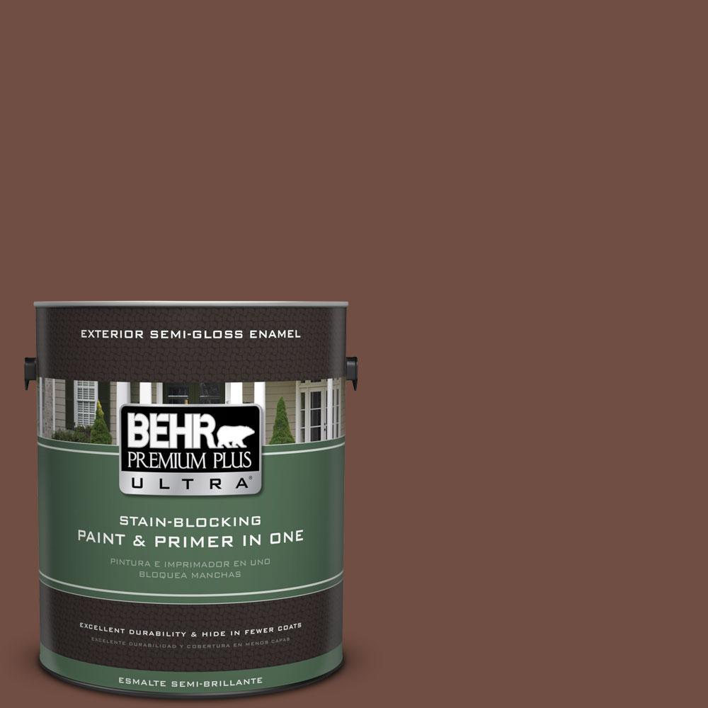 BEHR Premium Plus Ultra 1-gal. #N160-7 Brown Velvet Semi-Gloss Enamel Exterior Paint