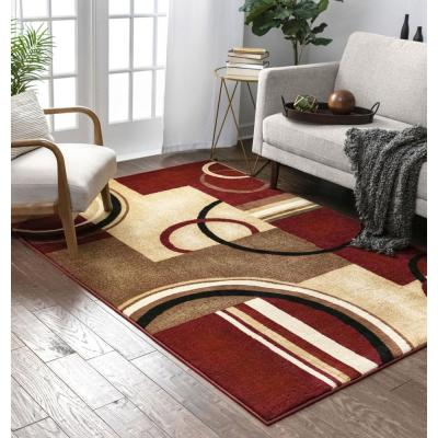 Barclay Arcs and Shapes Red 5 ft. x 7 ft. Modern Geometric Area Rug