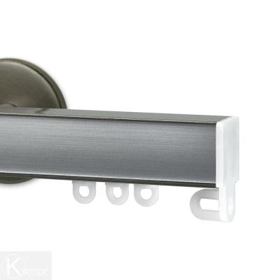 Nexgen 96 in. Non-Adjustable Single Traverse Window Curtain Rod Set in Antique Silver with Brushed Aluminum Applique