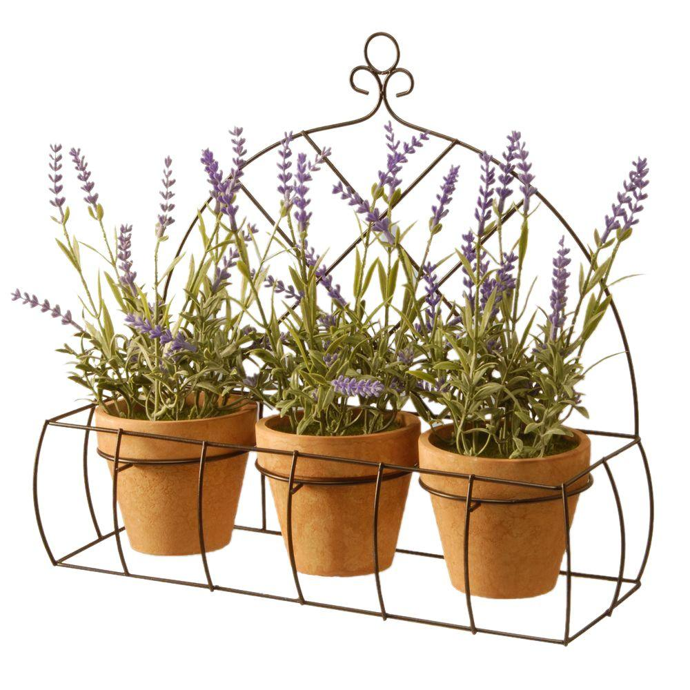 Decorating Lavender with Pot in Metal Holder