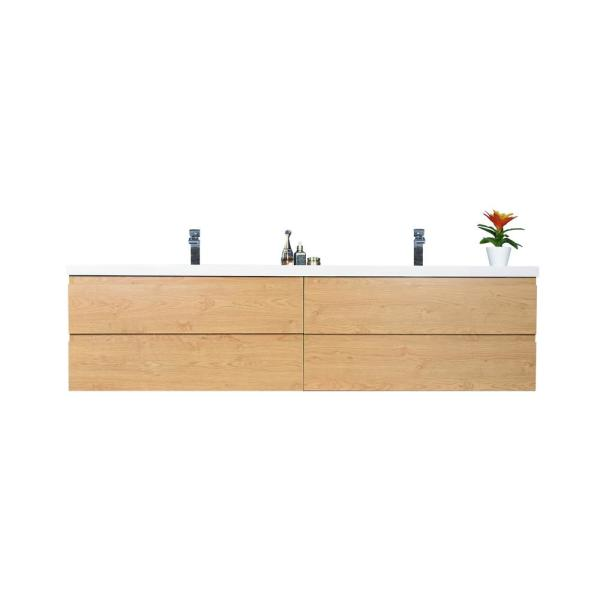 Bohemia 84 in. W Bath Vanity in New England Oak with Reinforced Acrylic Vanity Top in White with White Basins