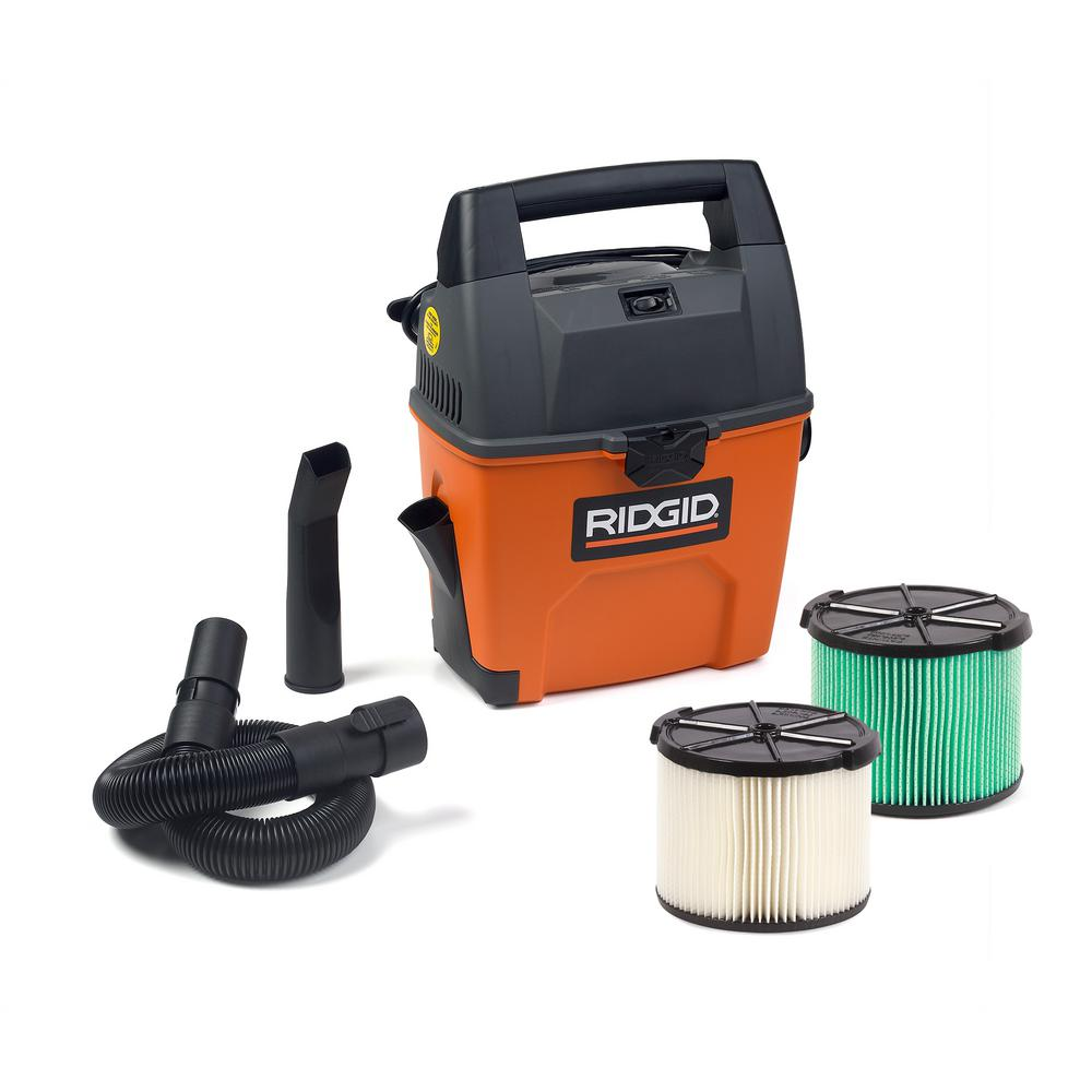 RIDGID 3 Gal. 3.5-Peak HP Portable Wet/Dry Shop Vacuum with Built-in Dust Pan and HEPA-Rated Material Filter