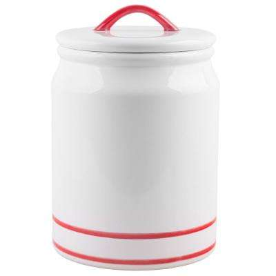 217 oz. Red Striped Caramic Canister