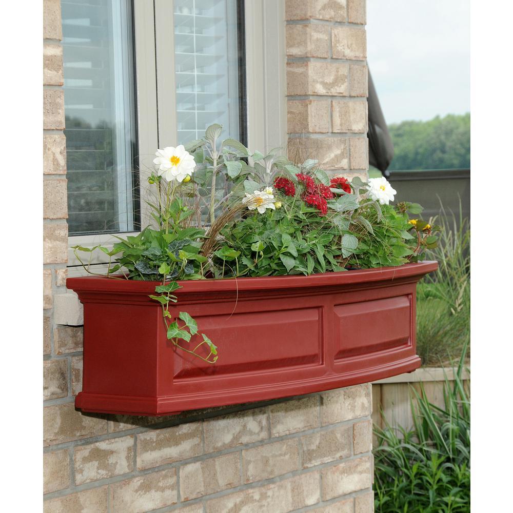 Nantucket 10 in. x 48 in. Red Polyethylene Window Box