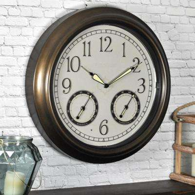 18 in. Round LED Trellis Outdoor Wall Clock