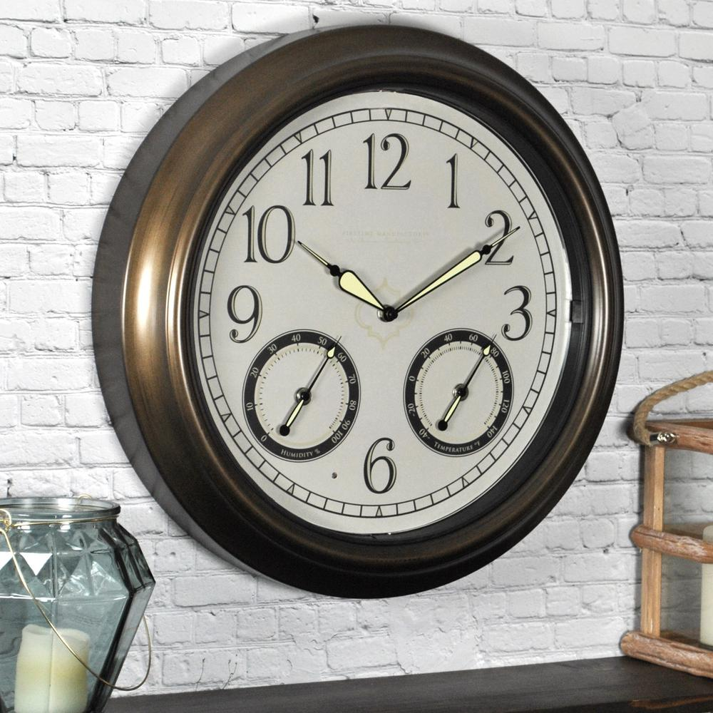 Round LED Trellis Outdoor Wall Clock
