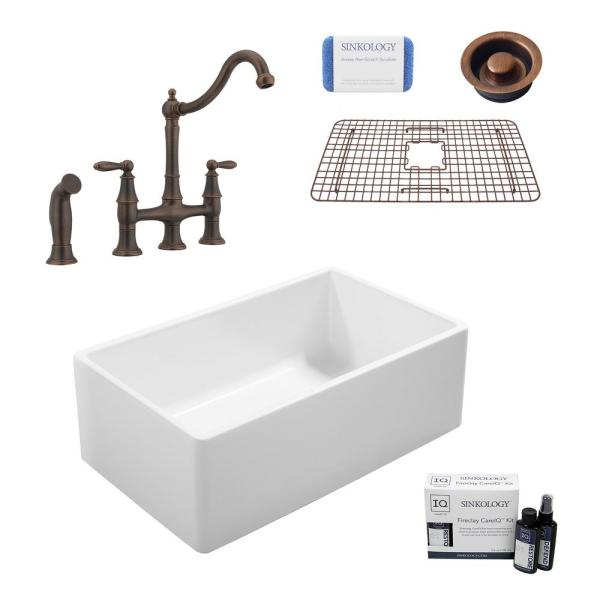 Ward All-in-One Farmhouse Fireclay 33 in. Single Bowl Kitchen Sink with Pfister Bronze Bridge Faucet and Disposal Drain