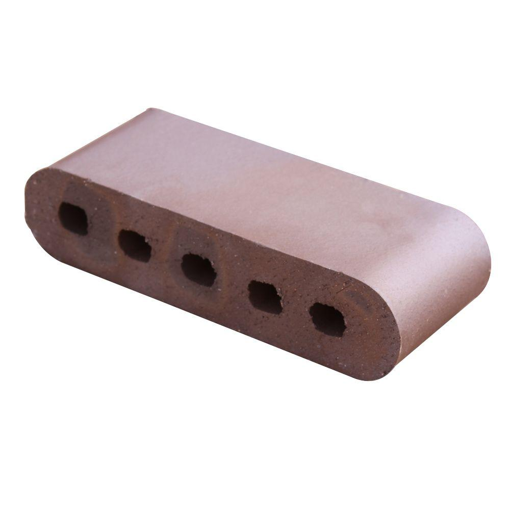 null Double Bullnose Brown Flashed 11.5 in. x 3.5 in. x 2.19 in. Cored Clay Brick