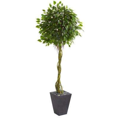 Artificial plants flowers home accents the home depot high indooroutdoor ficus artificial tree in slate planter mightylinksfo