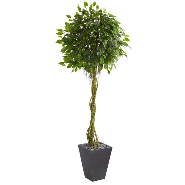 Nearly Natural 6 Ft High Indoor Outdoor Ficus Artificial Tree In Slate Planter 5611 The Home