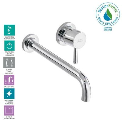 Serin Single-Handle Wall Mount Bathroom Faucet with Valve Body and Grid Drain in Polished Chrome