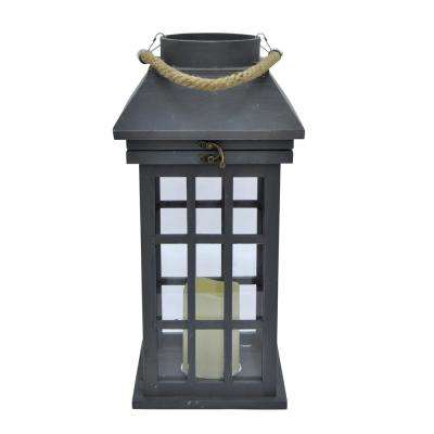 17.75 in. Wood Lantern with Led Candle in Gray