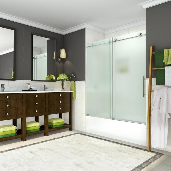 Coraline 56 - 60 in. x 60 in. Completely Frameless Sliding Tub Door with Frosted Glass in Polished Chrome