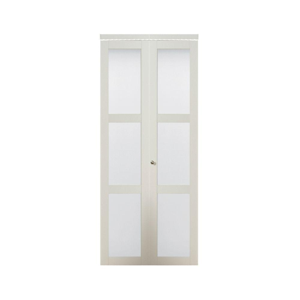 TRUporte 30 in. x 80.50 in. 3080 Series 3-Lite Tempered Frosted Glass Composite Off White Interior Closet Bi-Fold Door