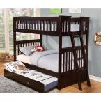 Espresso Twin over Twin Solid Pine Bunkbed with Pull Out Twin Trundle
