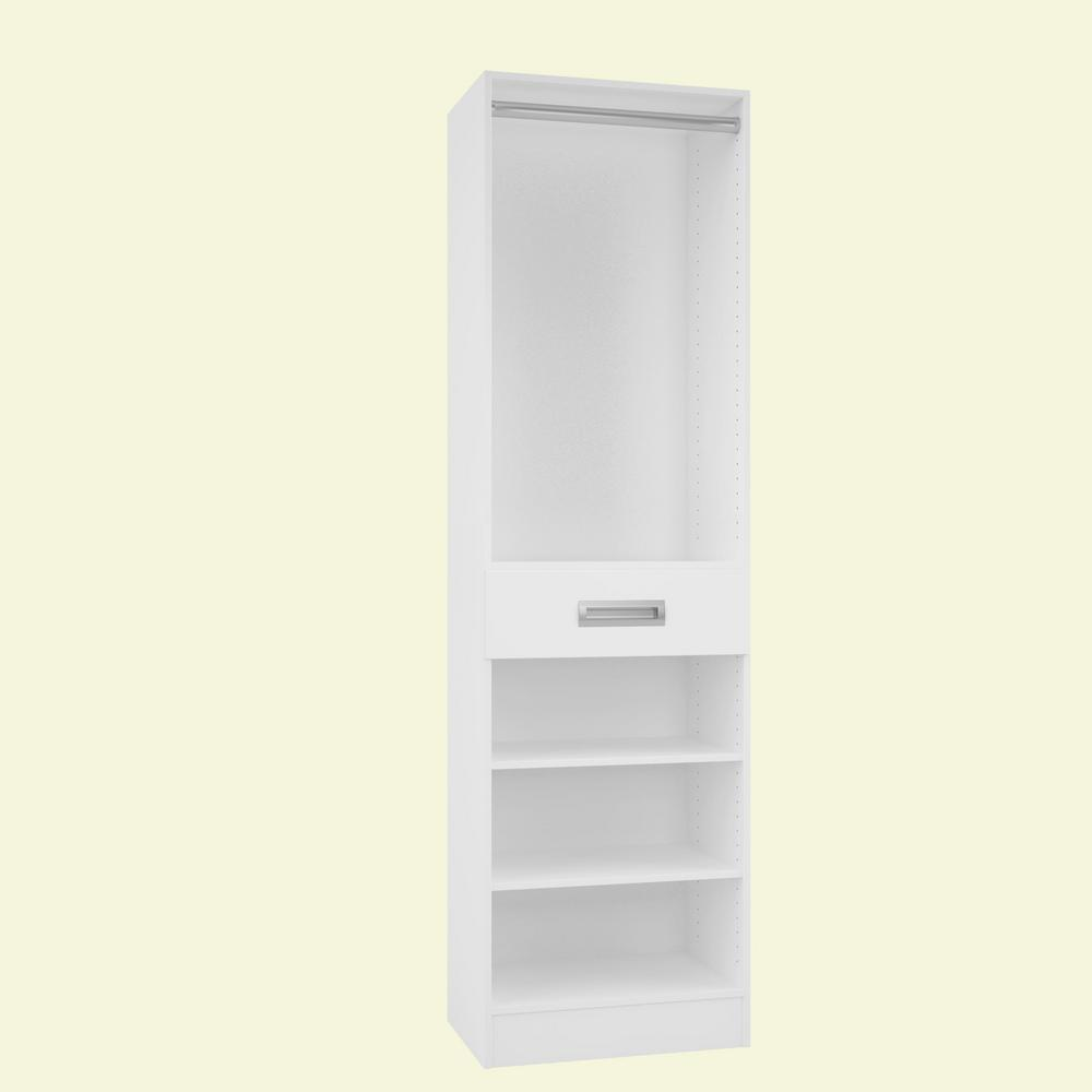 Home Decorators Collection 15 in. D x 24 in. W x 84 in. H Firenze Bianco Melamine with 3-Shelves, Drawer and Hanging Rod Closet System Kit
