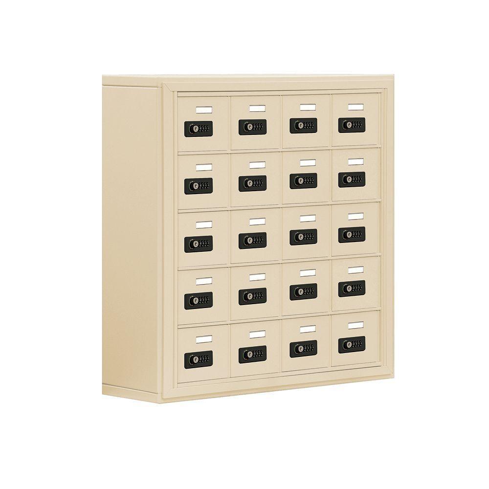 19000 Series 30.5 in. W x 31 in. H x 9.25 in. D 20 A Doors S-Mount Resettable Locks Cell Phone Locker in Sandstone