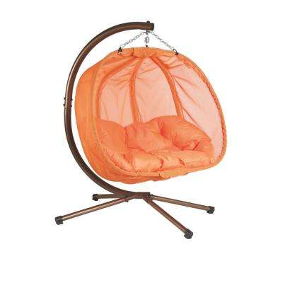 5.5 ft. x 4 ft. W Hanging Pumpkin Patio Swing Hammock with Base in Orange