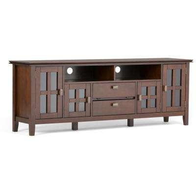Artisan Solid Wood 72 in. Wide Contemporary TV Media Stand in Medium Auburn Brown for TVs Upto 80 in.