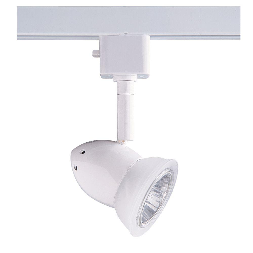 Designers Choice Collection Series 3 Line-Voltage GU-10 White Track Lighting Fixture with Glass Shade