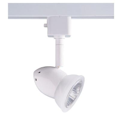 Series 3 Line-Voltage GU-10 White Track Lighting Fixture with Glass Shade