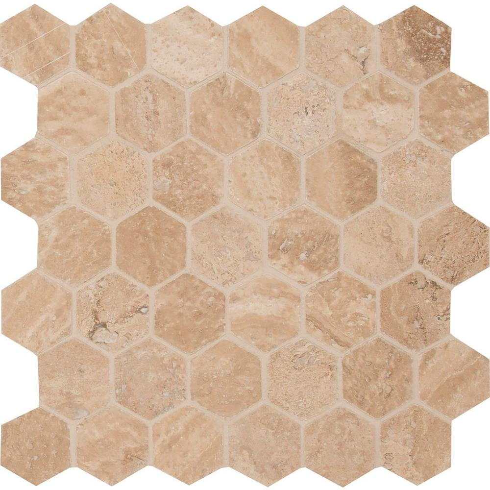 MSI Caramello Hexagon 12 in. x 12 in. x 10mm Honed and Filled Travertine Mesh-Mounted Mosaic Tile (10 sq. ft. / case)