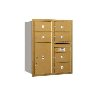 3700 Horizontal Series 6-Compartment with 1-Parcel Locker Recessed Mount Mailbox