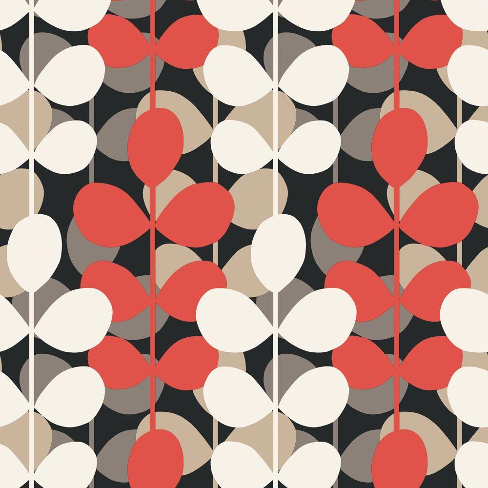 The Wallpaper Company 56 sq. ft. Red and Black Multicolored Modern Leaf Stripe Wallpaper