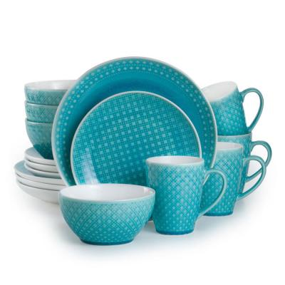 Palma 16-Piece Geometric Pattern Turquoise Dinnerware Set (Service for 4)