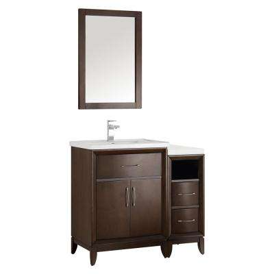 Cambridge 36 in. Vanity in Antique Coffee with Porcelain Vanity Top in White with White Ceramic Basin and Mirror