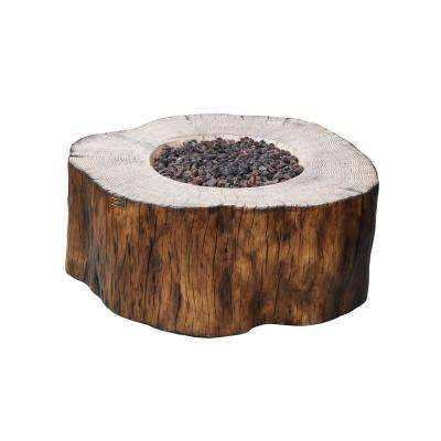 Manchester 42 in. x 39 in. x 17 in. Irregular Round Concrete Natural Gas Fire Pit Table in Redwood