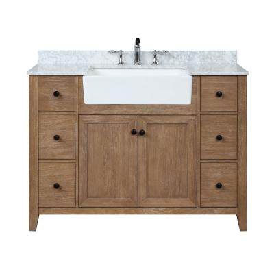 Sally 48 in. Single Bath Vanity in Ash Brown with Marble Vanity Top in Carrara White with Farmhouse Basin