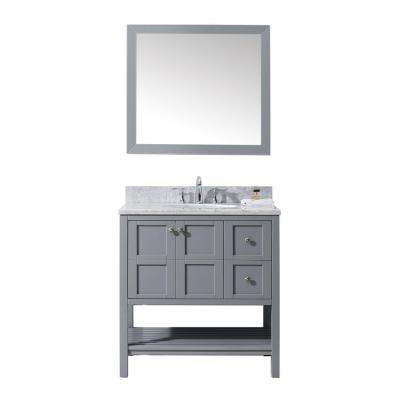 Winterfell 36 in. W Bath Vanity in Gray with Marble Vanity Top in White with Round Basin and Mirror