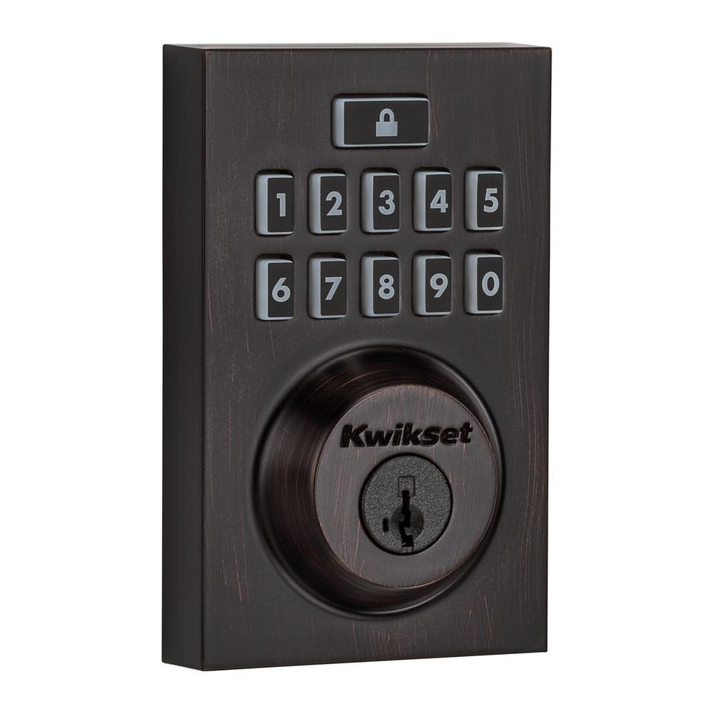 Z-Wave SmartCode 914 Contemporary Single Cylinder Venetian Bronze Electronic Deadbolt Featuring SmartKey Security