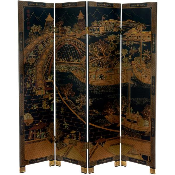 Oriental Furniture-6 ft. Black 4-Panel Ching Ming Festival Room Divider