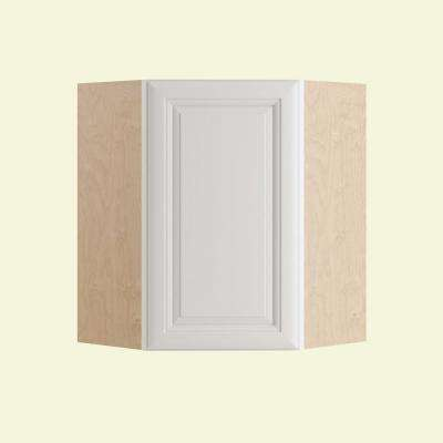 Brookfield Assembled 24x36x12 in. Single Door Hinge Right Wall Kitchen Angle Cabinet in Pacific White