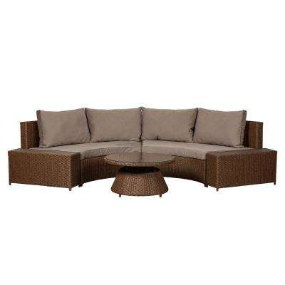 Webster Mocha 3-Piece Wicker Outdoor Sectional with Taupe Cushions
