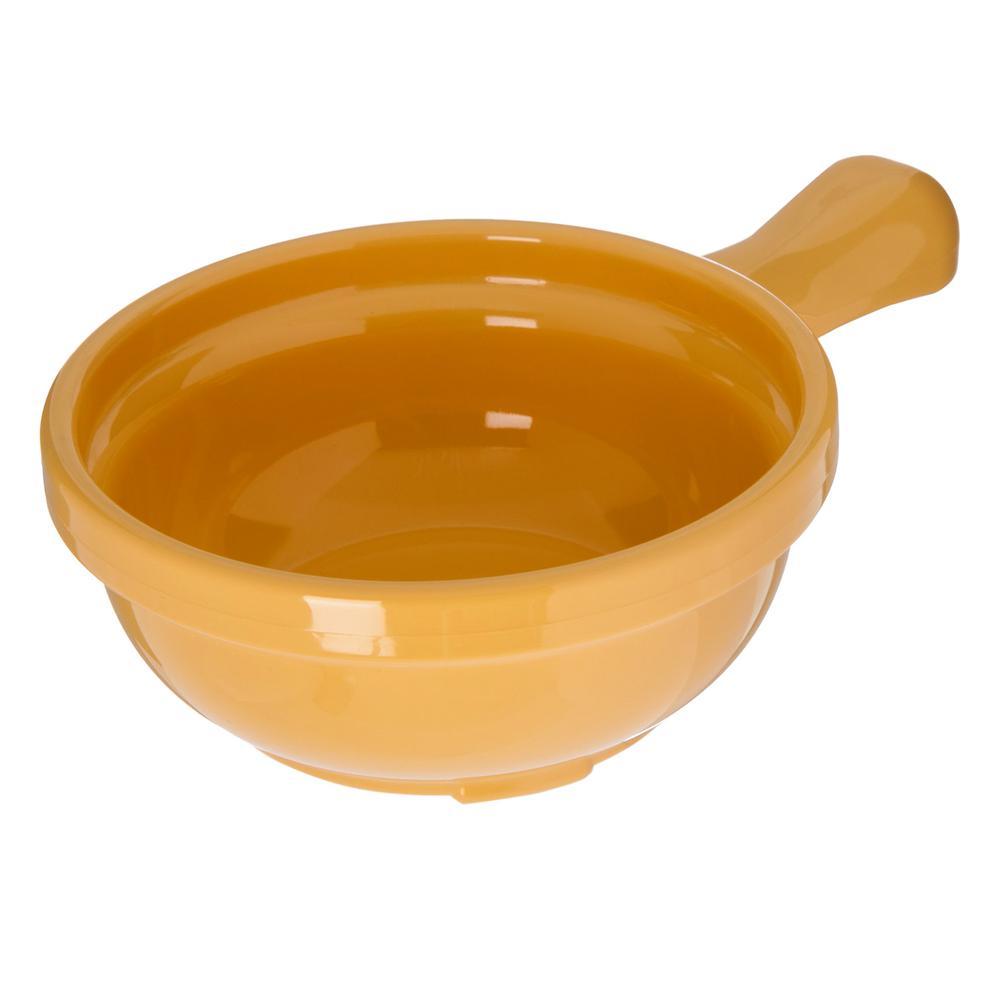 Carlisle 8 oz. Honey Yellow Plastic Handled Soup Bowl (24-Pack) 7006
