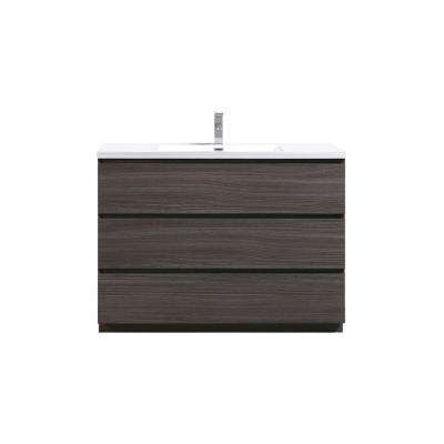 Angeles 48 in. W Vanity in Dark Gray Oak with Reinforced Acrylic Vanity Top in White with White Basin