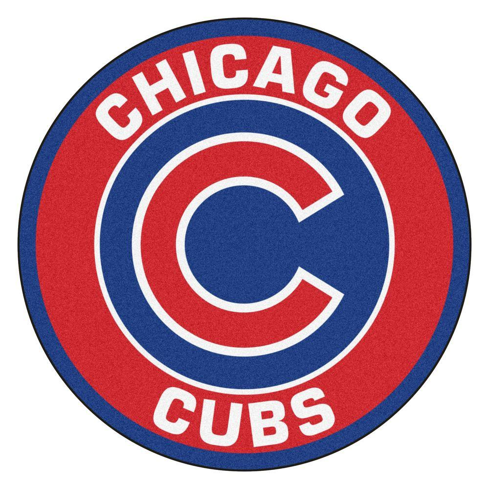 MLB Chicago Cubs Red 2 ft. x 2 ft. Round Area Rug