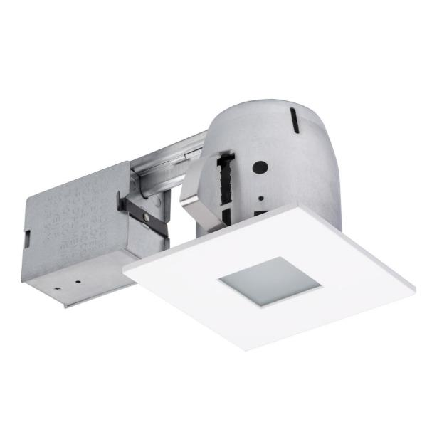 4 in. Square Matte White Bathroom Recessed Lighting Kit with Frosted Glass and Spot Light