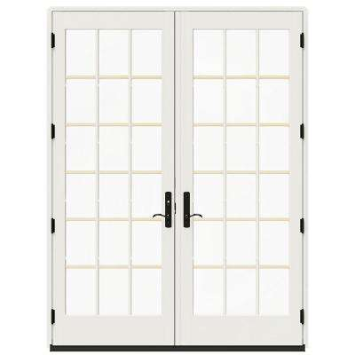 72 in. x 96 in. W-4500 French Vanilla Clad Wood Right-Hand 18-Lite French Patio Door with Contemporary Frame