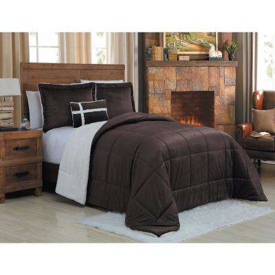 Micro Sherpa 3-Piece Twin Chocolate Comforter