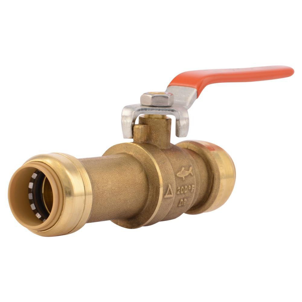 Sharkbite in brass push to connect slip ball valve
