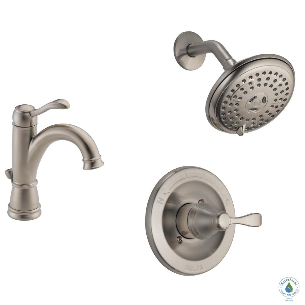 Delta Porter 4 In Centerset Single Handle Bathroom Faucet Bundle With Shower In Brushed Nickel